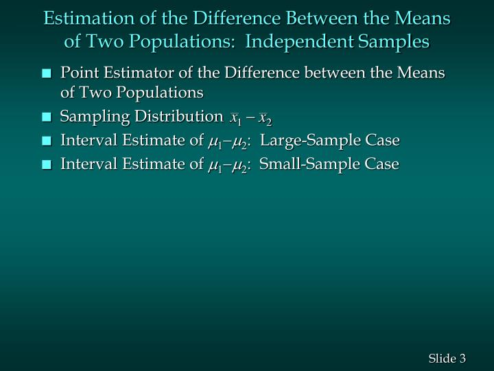 Estimation of the Difference Between the Means