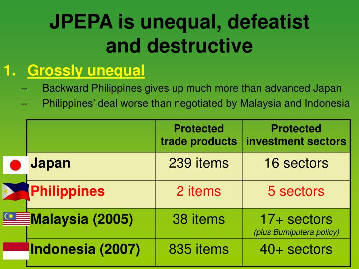 JPEPA is unequal, defeatist