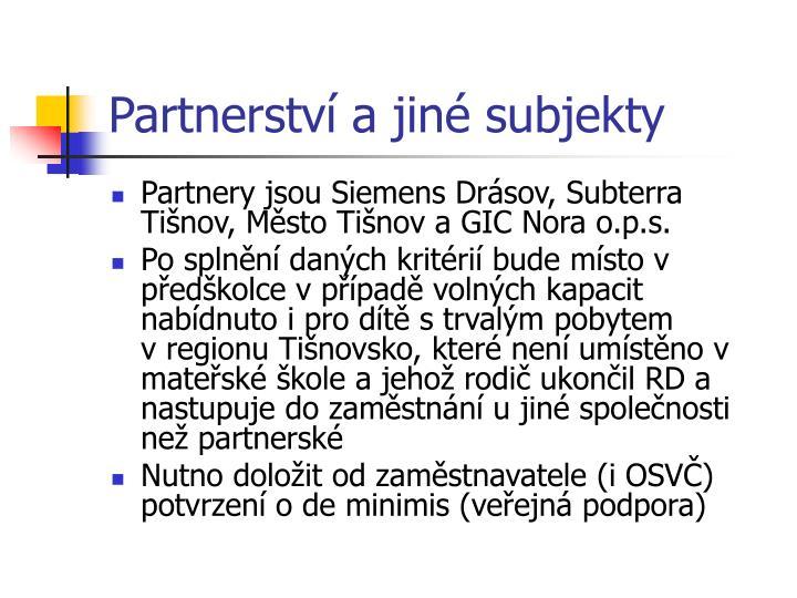 Partnerství a jiné subjekty