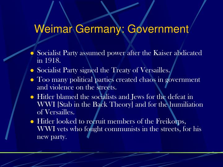 Weimar Germany: Government