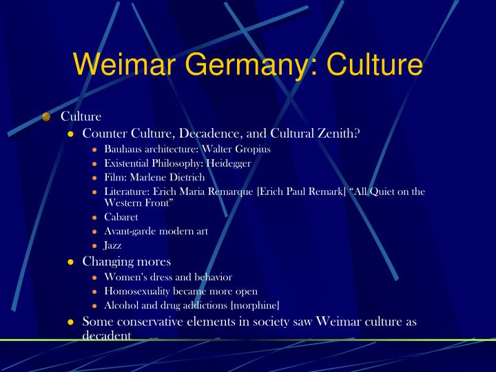 Weimar Germany: Culture