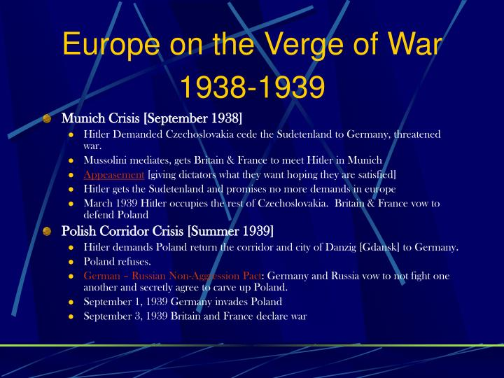 Europe on the Verge of War 1938-1939