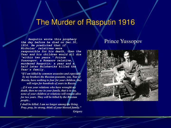 The Murder of Rasputin 1916