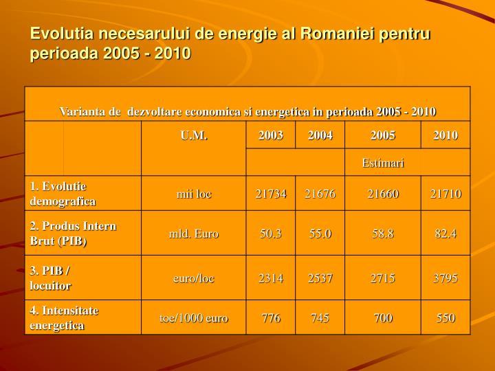 Evolutia necesarului de energie al Romaniei pentru perioada 2005 - 2010