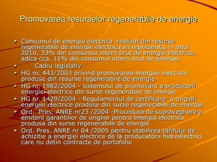 Promovarea resurselor regenerabile de energie