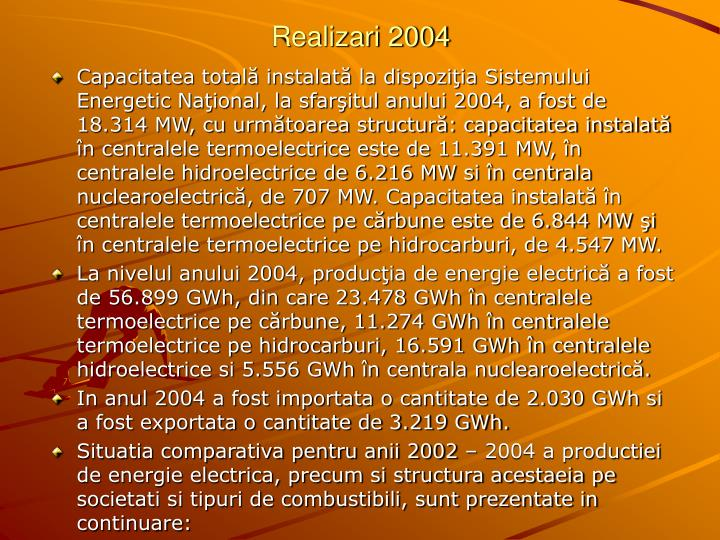 Realizari 2004