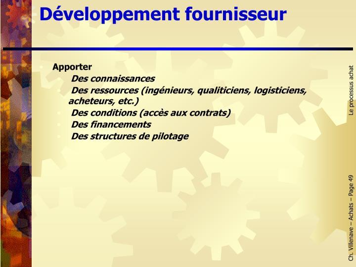 Développement fournisseur
