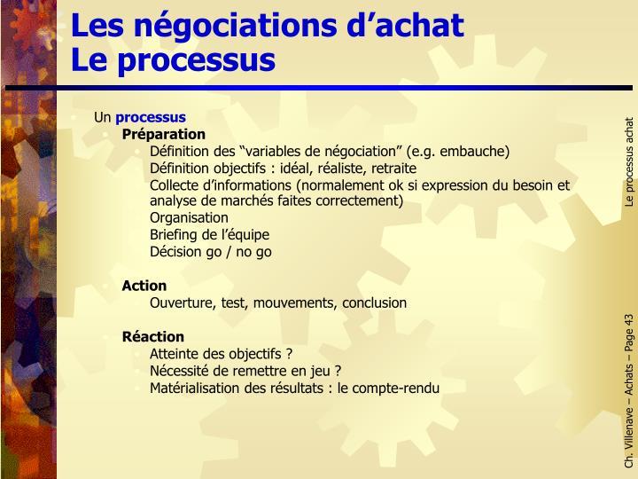 Les négociations d'achat