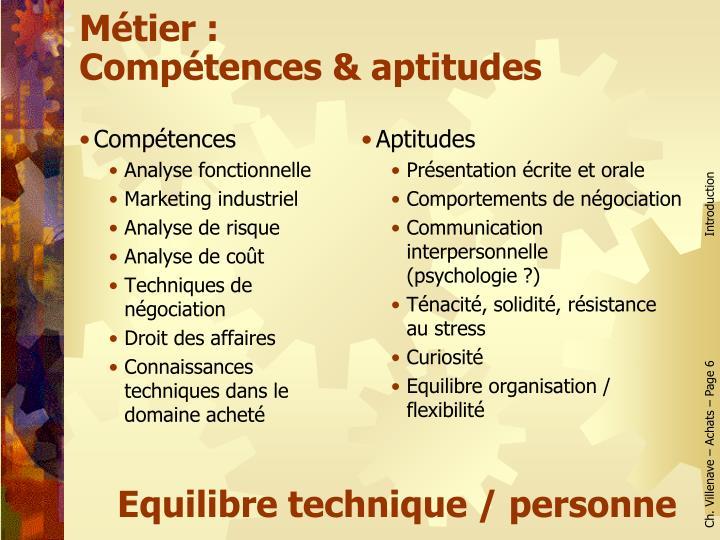 Métier :