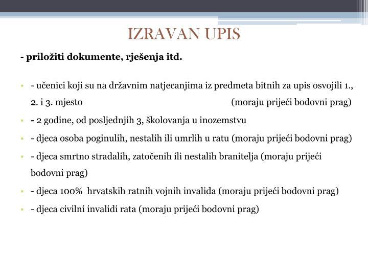IZRAVAN UPIS