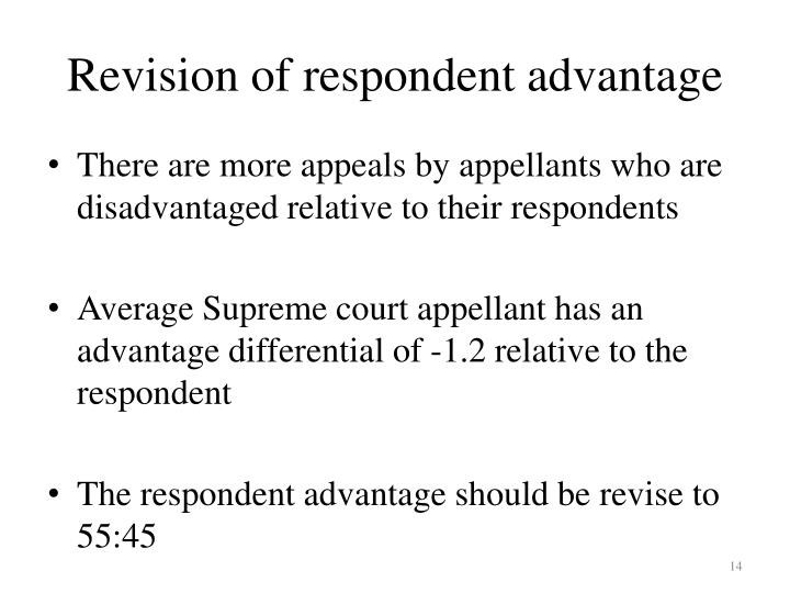 Revision of respondent advantage