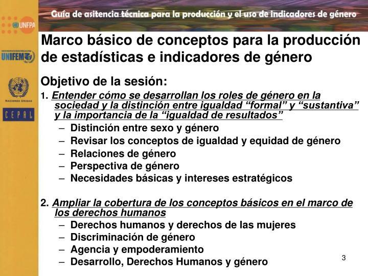 Marco básico de conceptos para la producción de estadísticas e indicadores de género