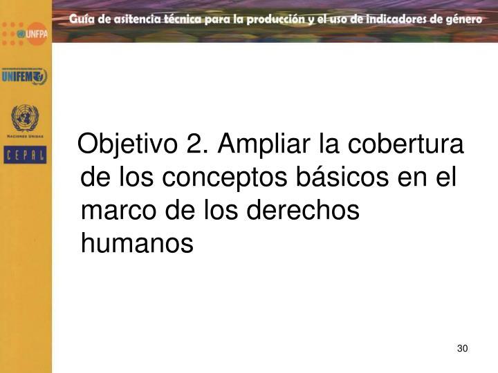 Objetivo 2. Ampliar la cobertura de los conceptos básicos en el marco de los derechos humanos