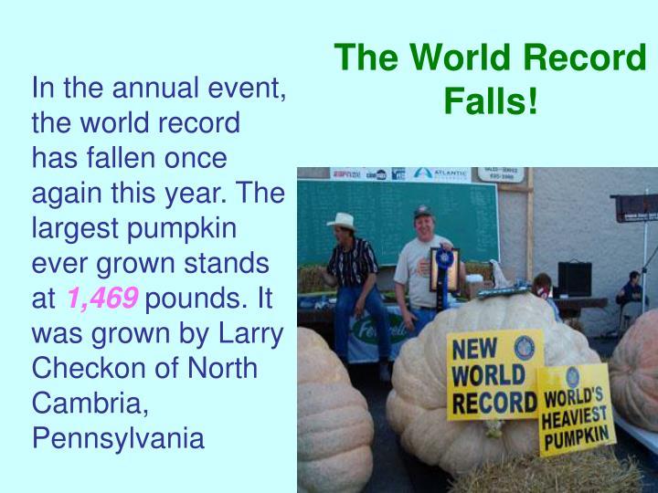 The World Record Falls!