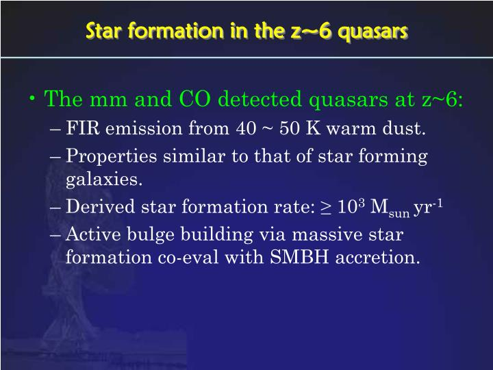 Star formation in the z~6 quasars