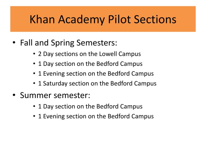 Khan Academy Pilot Sections