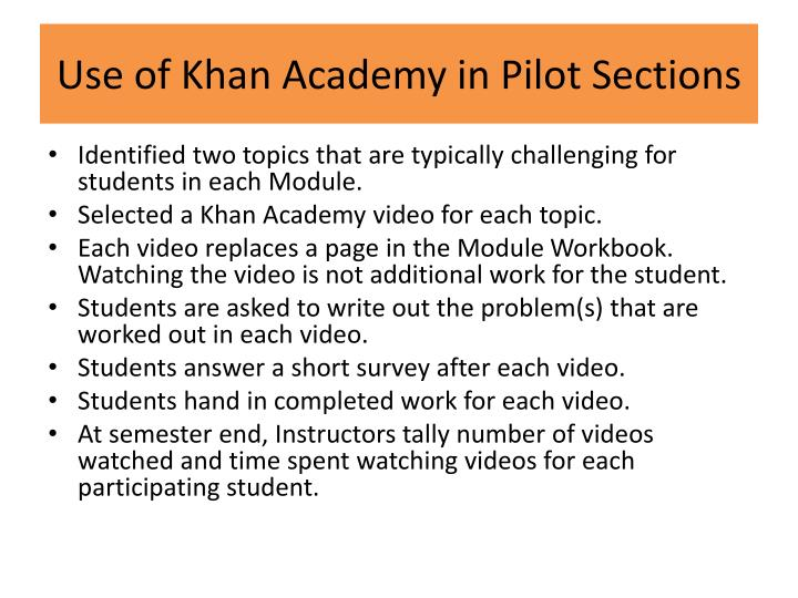 Use of Khan Academy in Pilot Sections