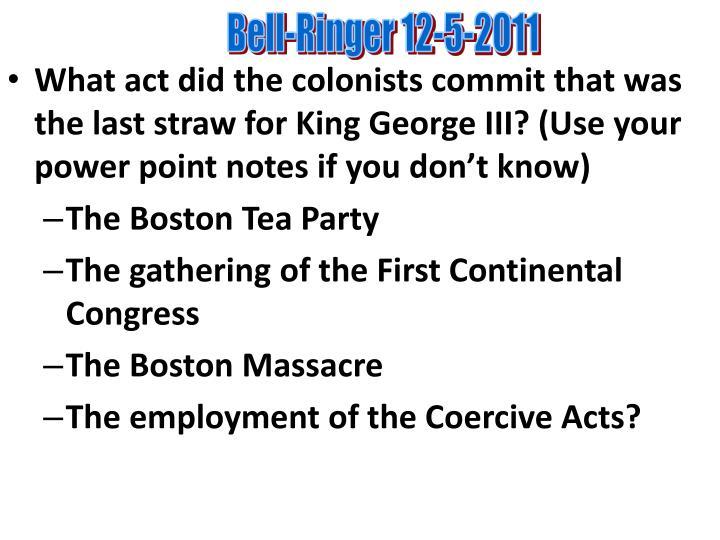 Bell-Ringer 12-5-2011