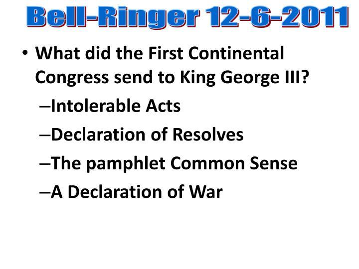 Bell-Ringer 12-6-2011