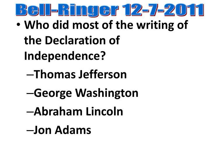 Bell-Ringer 12-7-2011