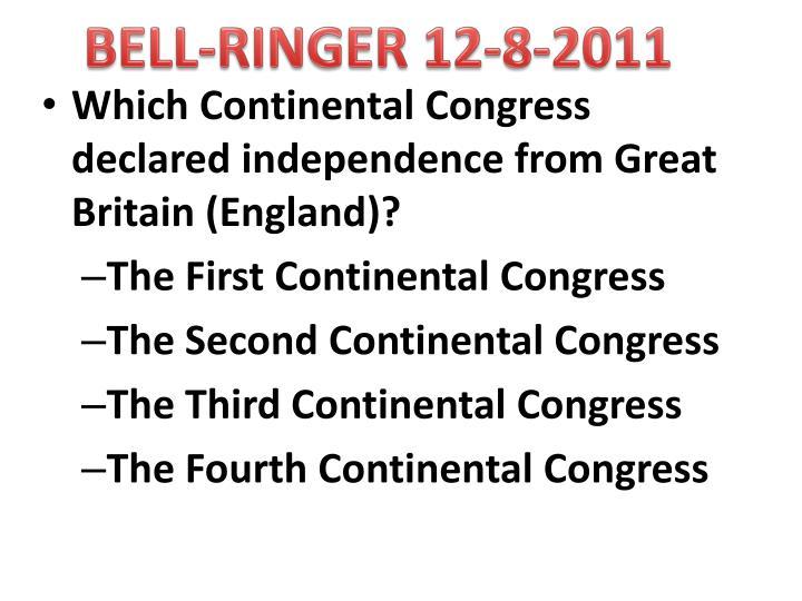 BELL-RINGER 12-8-2011