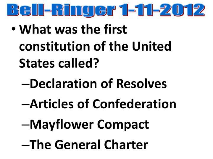 Bell-Ringer 1-11-2012