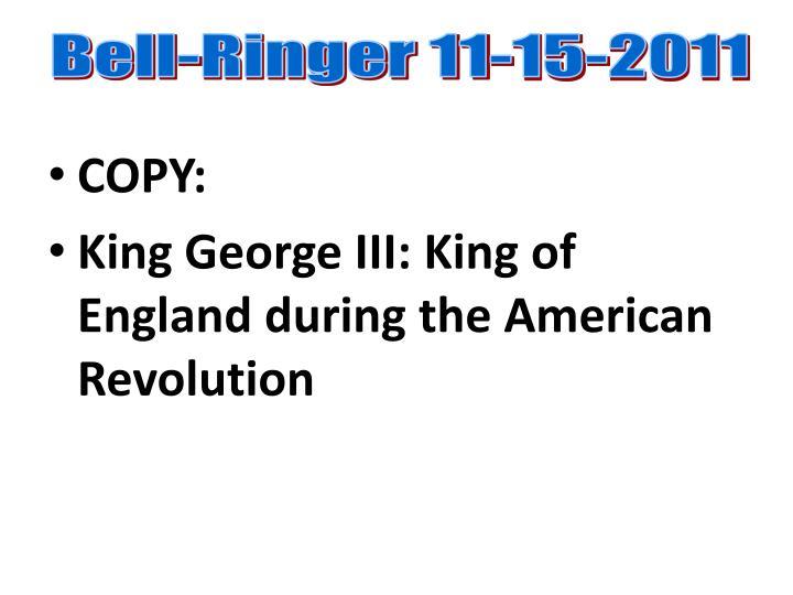 Bell-Ringer 11-15-2011