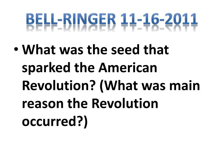 Bell-Ringer 11-16-2011