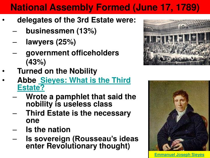 formation of the national assembly Answer choices-it made the estates-general part of the national assembly it inspired the estates-general to push for reforms it compelled the estates.
