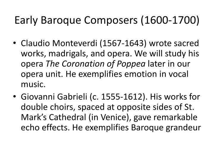 Early baroque composers 1600 1700