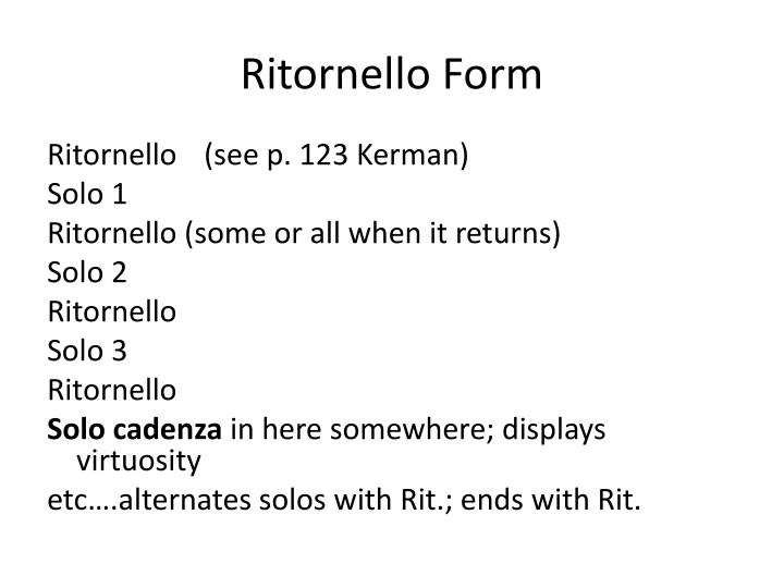 Ritornello Form