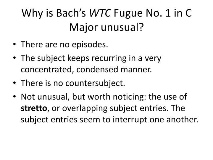 Why is Bach's