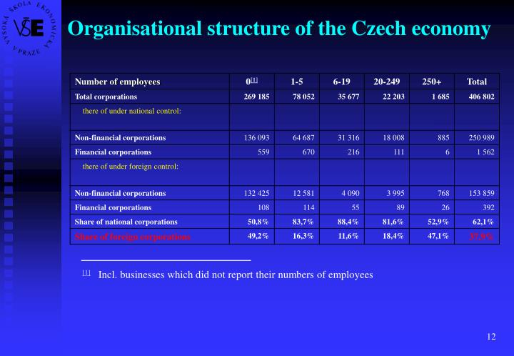 Organisational structure of the Czech economy