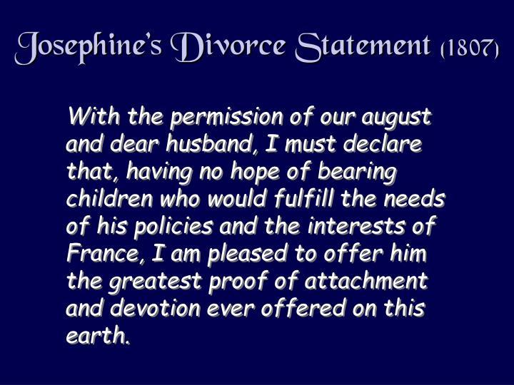 Josephine's Divorce Statement
