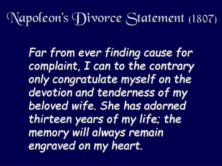 Napoleon's Divorce Statement