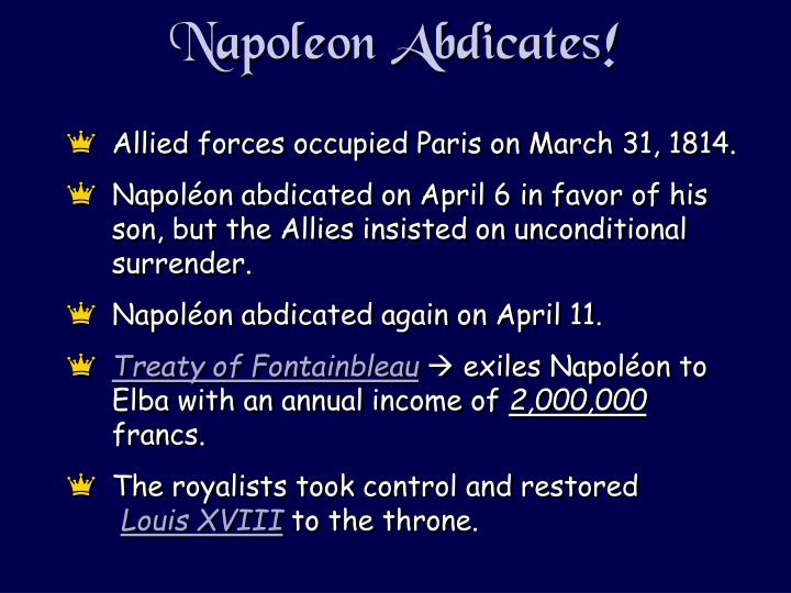 Napoleon Abdicates!