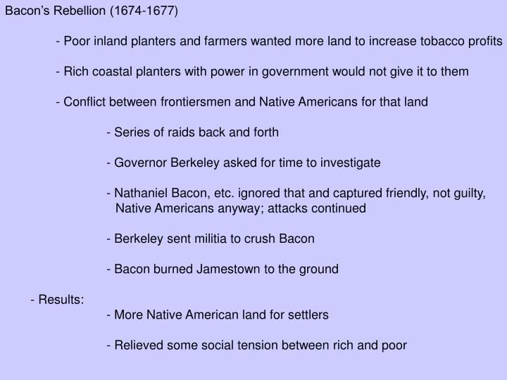 Bacon's Rebellion (1674-1677)