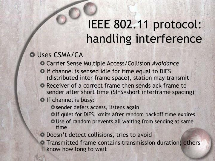 IEEE 802.11 protocol: handling interference