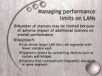managing performance limits on lans