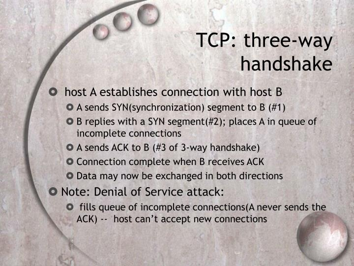 TCP: three-way handshake