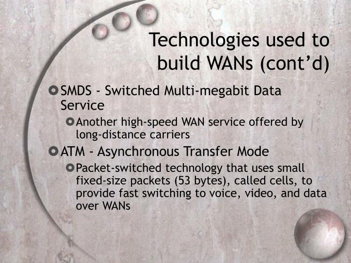 Technologies used to build WANs (cont'd)