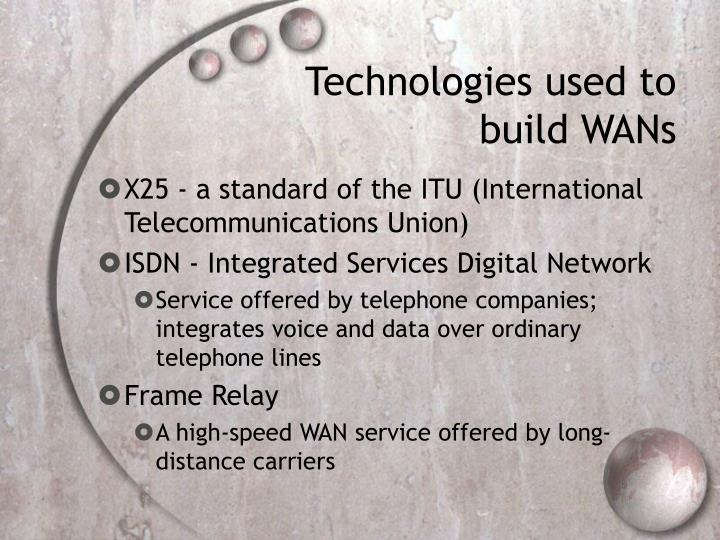 Technologies used to build WANs
