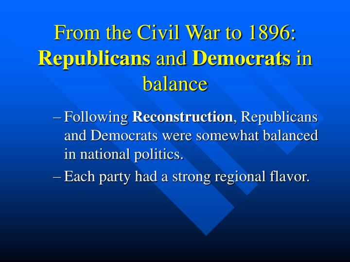 From the Civil War to 1896: