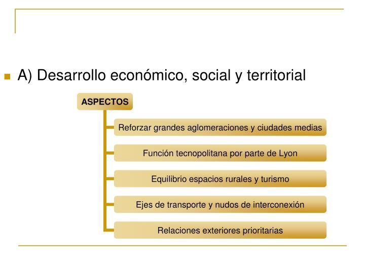 A) Desarrollo económico, social y territorial