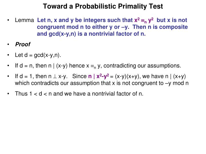 Toward a Probabilistic Primality Test