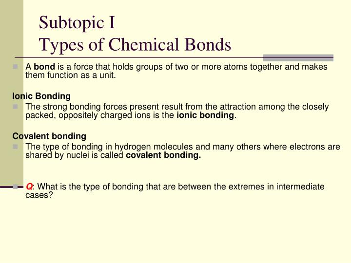 Subtopic i types of chemical bonds