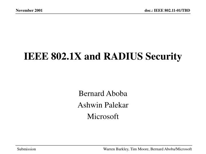 Ieee 802 1x and radius security