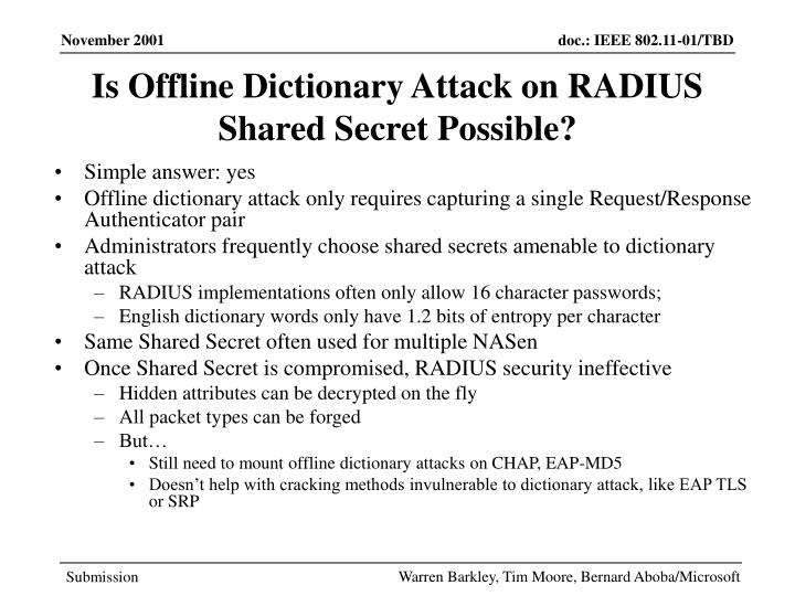 Is Offline Dictionary Attack on RADIUS Shared Secret Possible?