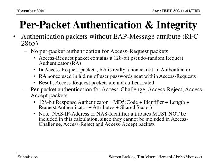 Per-Packet Authentication & Integrity