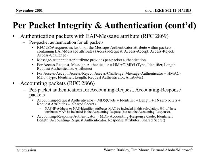 Per Packet Integrity & Authentication (cont'd)